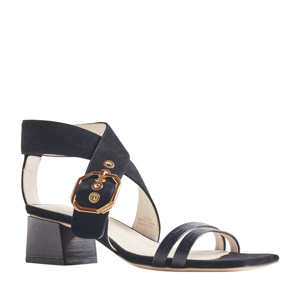 Glenda Heeled Suede Sandal with Buckle - Black