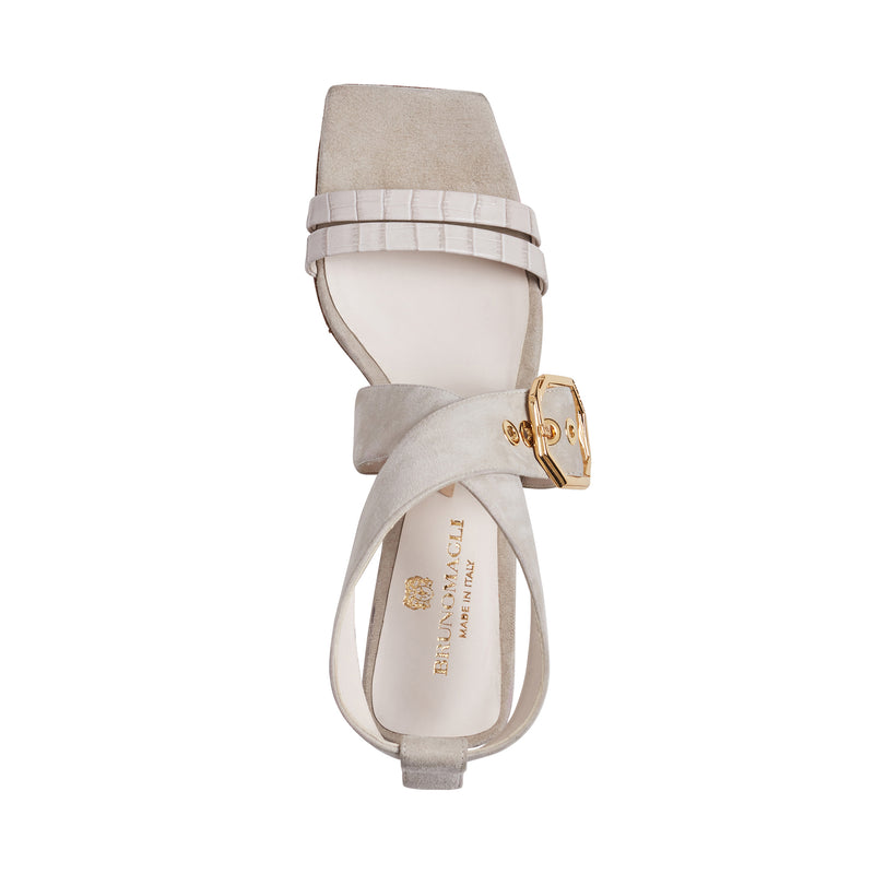 Glenda Heeled Suede Sandal with Buckle - Ivory