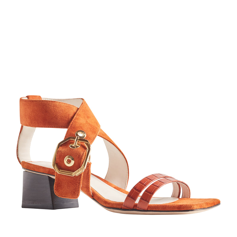 Glenda Heeled Suede Sandal with Buckle - Tangerine