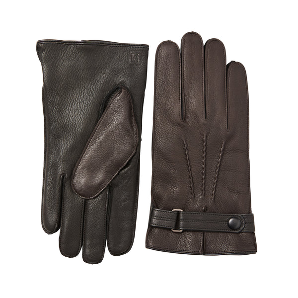 Men's Leather Gloves with Wrist Strap - Brown/Black