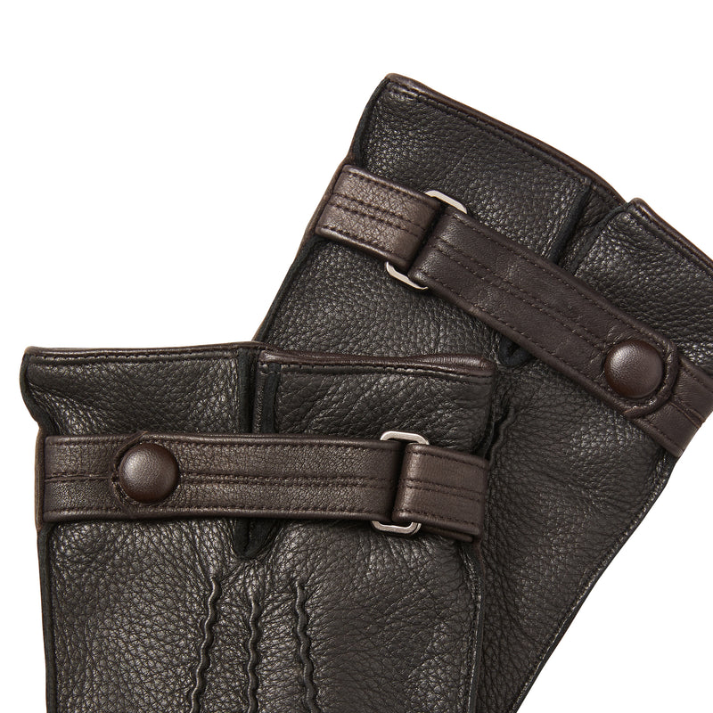 Men's Leather Gloves with Wrist Strap - Black/Brown