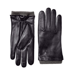 Men's Leather Gloves with Ribbed Cuff - Black
