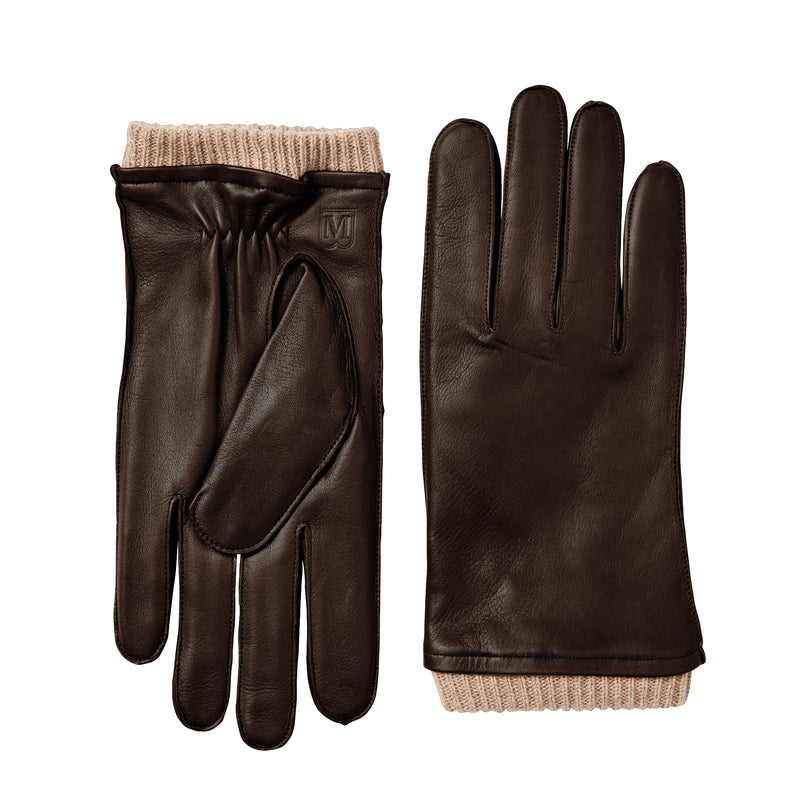 Men's Leather Gloves with Ribbed Cuff - Brown