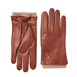Men's Leather Gloves with Ribbed Cuff - Vicuna