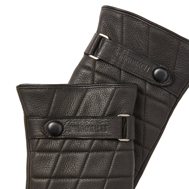 Men's Quilted Leather Gloves with Logo Strap - Black