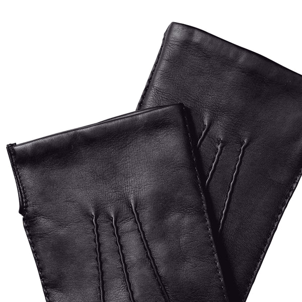 Men's Classic Hand-Stitched Leather Gloves - Black