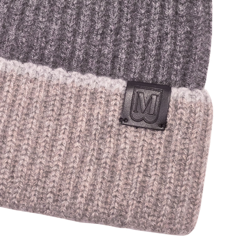 Men's Cashmere Color Block Knit Hat - Grey/Camel