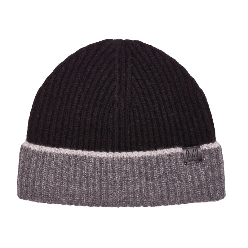 Men's Cashmere Color Block Knit Hat - Black/Grey