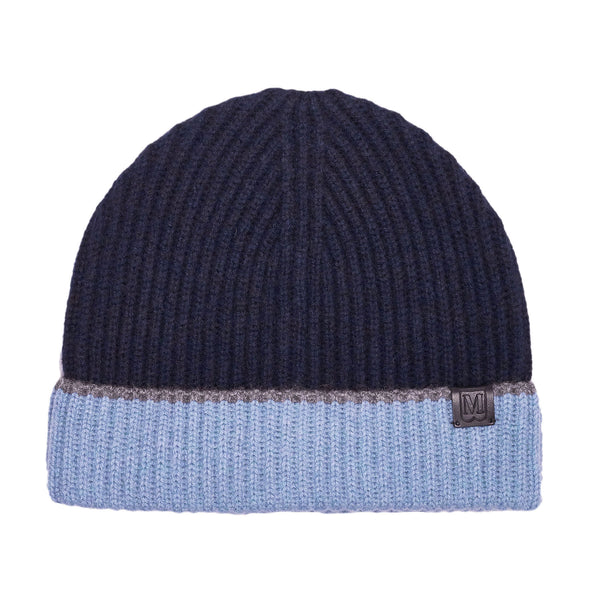 Men's Cashmere Color Block Knit Hat - Navy/Denim