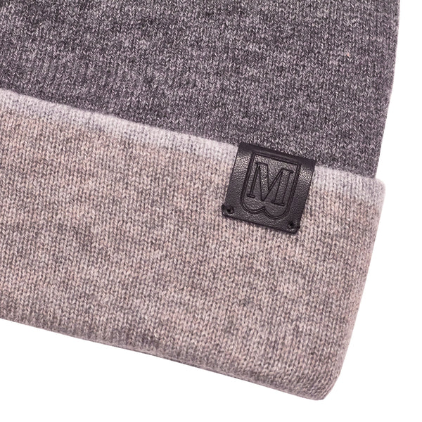 Men's Cashmere Reversible Knit Hat - Grey/Camel