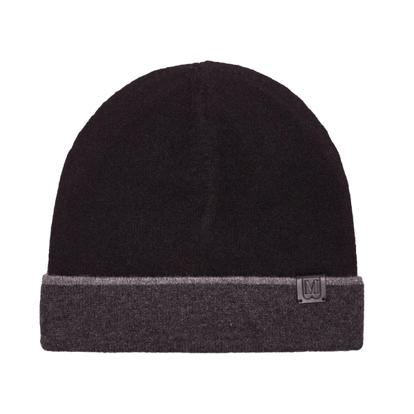 Men's Cashmere Reversible Knit Hat - Black/Grey