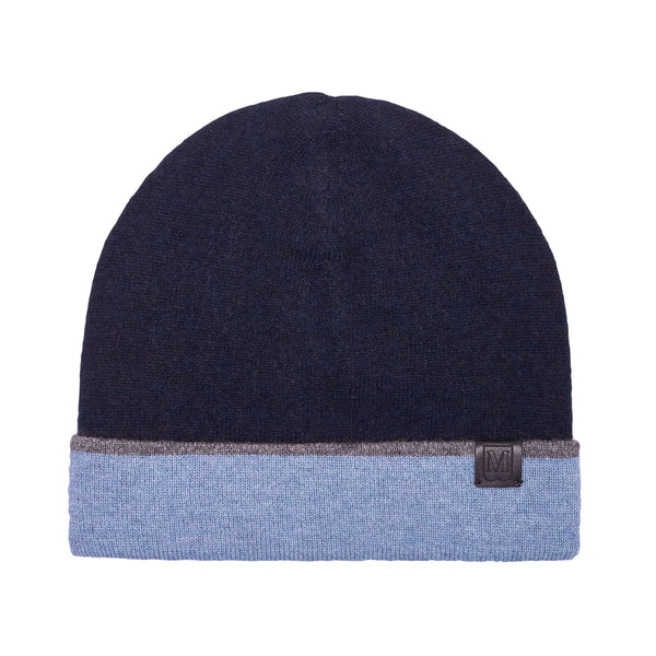 Men's Cashmere Reversible Knit Hat - Navy/Denim