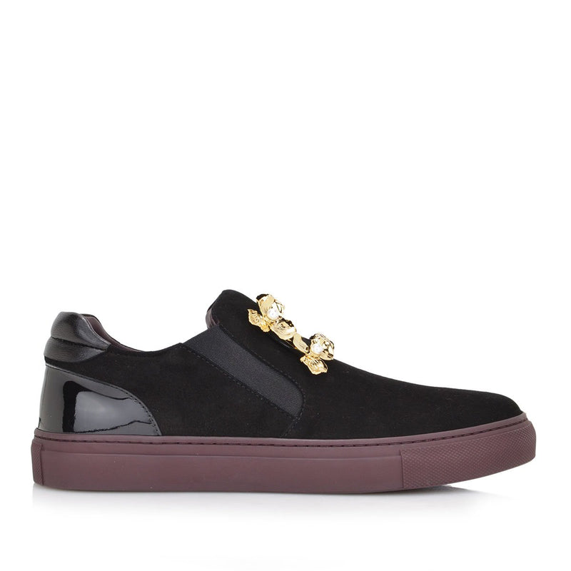 Iris Slip-on Sneaker - FINAL SALE - Black Suede/Leather/Patent Leather