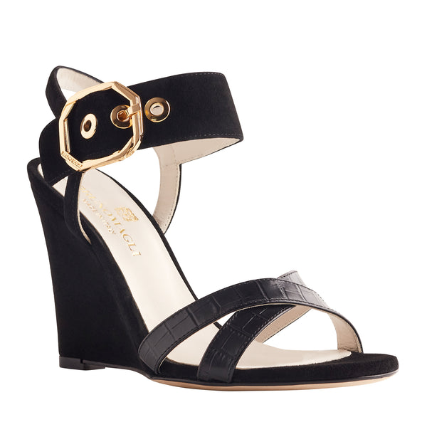 Kamelia Suede Wedge with Buckle - Black