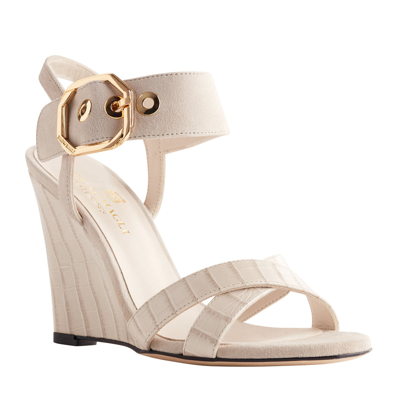 Kamelia Suede Wedge with Buckle - Ivory