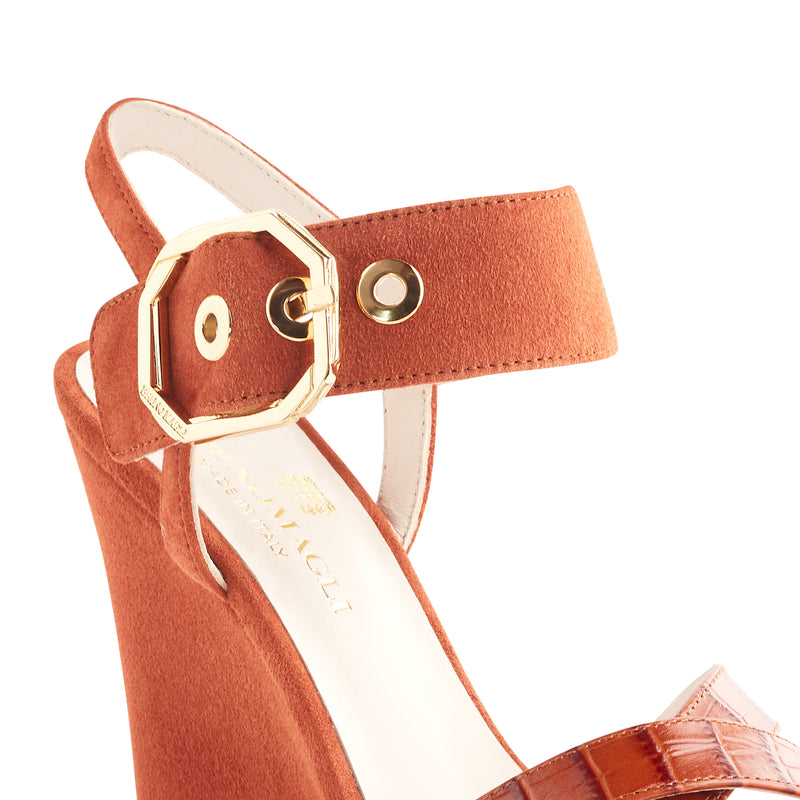Kamelia Suede Wedge with Buckle - Tangerine