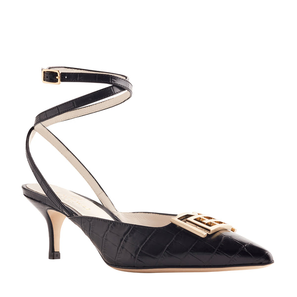 Keaton Croc-Embossed Leather Heel - Black/Gold