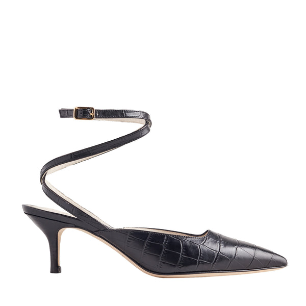 Keaton Croc-Embossed Leather Heel - Black