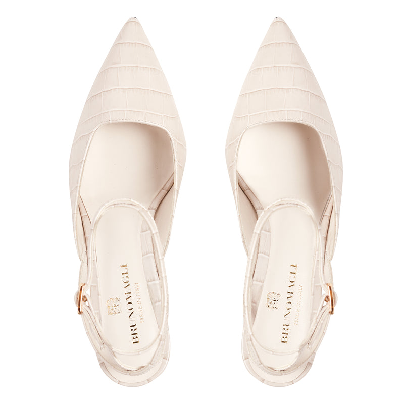 Keaton Croc-Embossed Leather Heel - Ivory