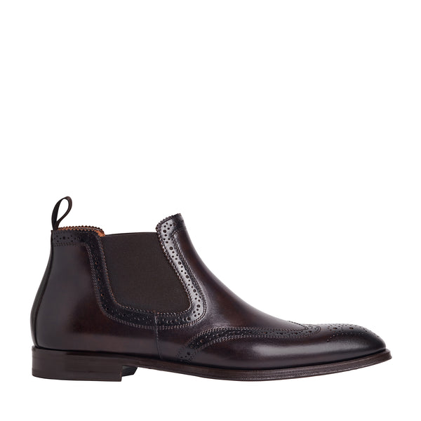 Lamberto Wing-Tip Chelsea Boot - Dark Brown