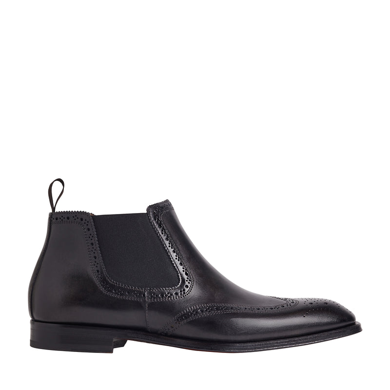 Lamberto Wing-Tip Chelsea Boot - Dark Grey