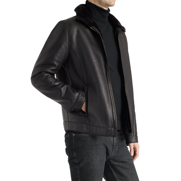 Lenon Men's Leather & Shearling Jacket - Dark Brown