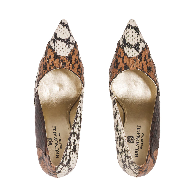 Lola Ela Snakeskin Pump - Brown Combo