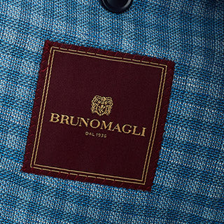 Lucca Three-Button Wool & Linen Sportcoat - Blue Check