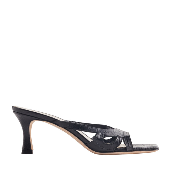 Luce Crocodile Open-Toe Mule Sandal - Black