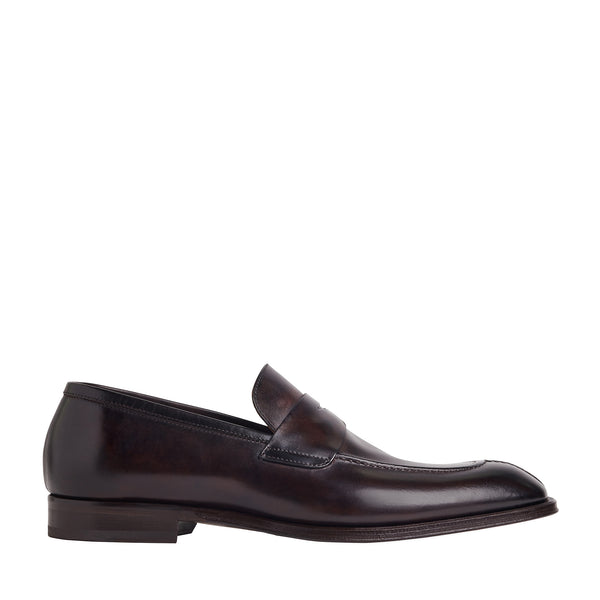 Luigi Split-Toe Penny Loafer - Dark Brown