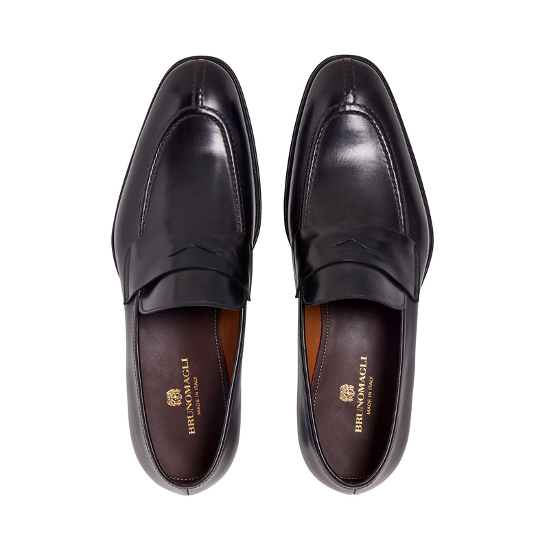 Luigi Split-Toe Penny Loafer - Dark Grey