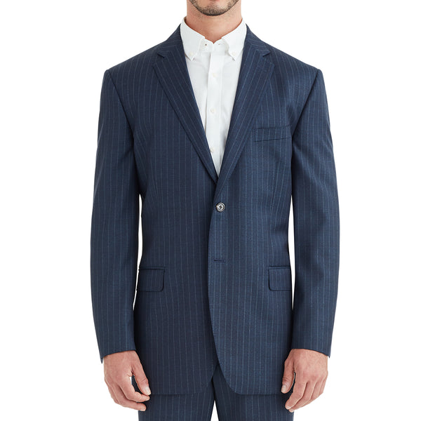 Verdi Pinstripe Two-Button Suit - Navy - Soho Exclusive