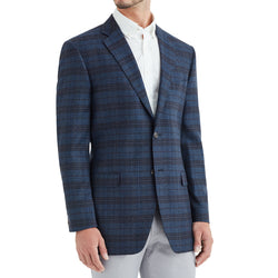 Bassi Plaid Two-Button Sportcoat - Blue - Soho Exclusive