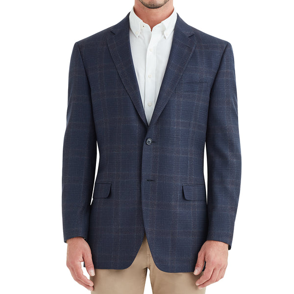 Bassi Grid Plaid Two-Button Sportcoat - Blue - Soho Exclusive