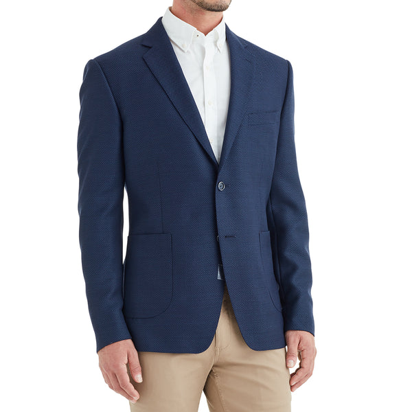 Lucca Three-Button Wool & Linen Sportcoat - Navy - Soho Exclusive