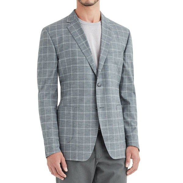 Lucca Window Plaid Wool & Linen Sportcoat - Grey - Soho Exclusive