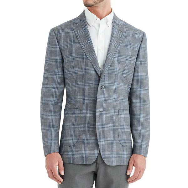 Lucca Plaid Wool & Linen Sportcoat - Grey - Soho Exclusive