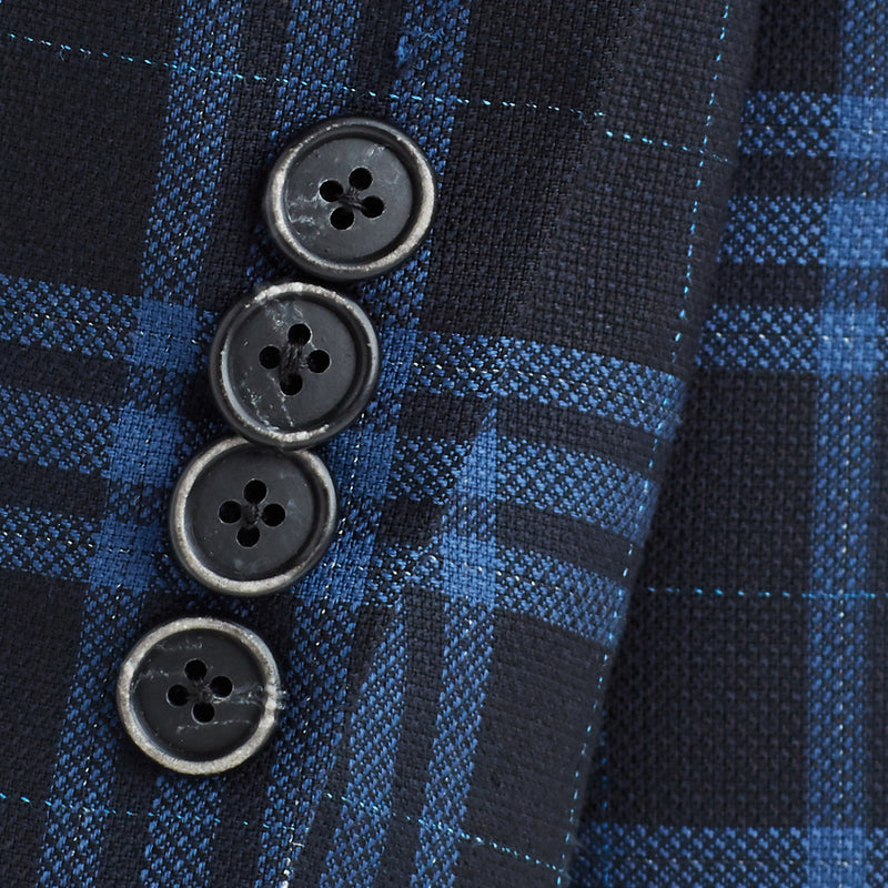 Lucca Plaid Three-Button Sportcoat - Black/Blue - Online Exclusive
