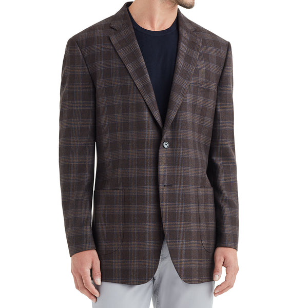 Lucca Three-Button Wool & Linen Sportcoat - Burgundy Check - Soho Exclusive