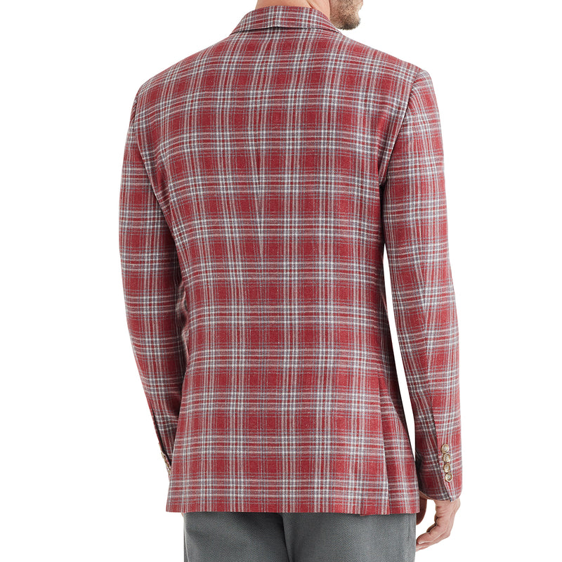 Lucca Plaid Wool & Linen Sportcoat - Red - Online Exclusive - FINAL SALE