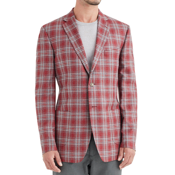 Lucca Plaid Wool & Linen Sportcoat - Red - Soho Exclusive