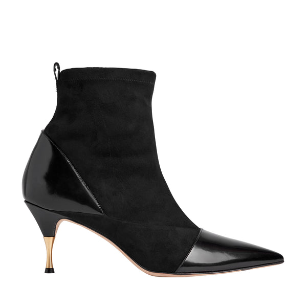 Malia Stretch Suede/Shiny Ankle Boot - Black