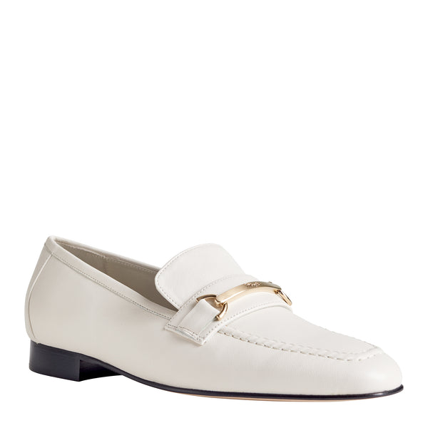Marco Women's Leather Flat Bit Loafer - Eggshell