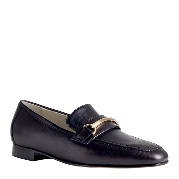 Marco Women's Leather Flat Bit Loafer - Black