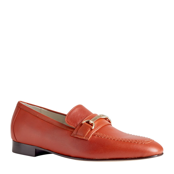 Marco Women's Leather Flat Bit Loafer - Rust