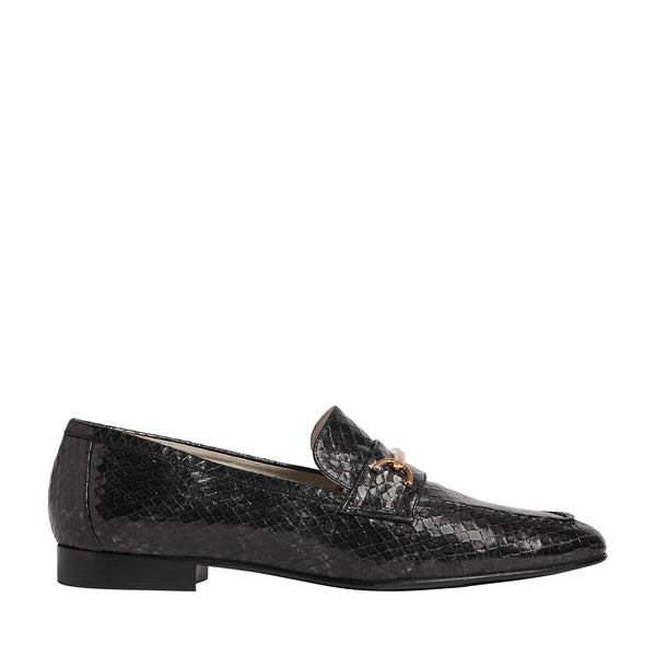Marco Metallic Snake-Printed Leather Loafer - Black