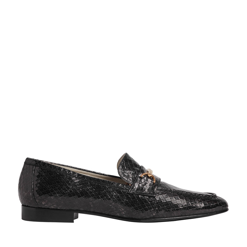 Marco Women's Metallic Snake-Printed Leather Loafer - Black
