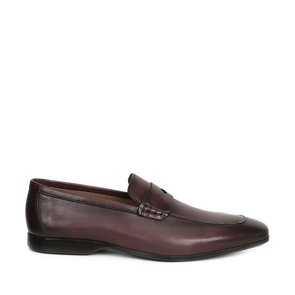 Margot Calf-Leather Penny Loafer - Bordo Leather