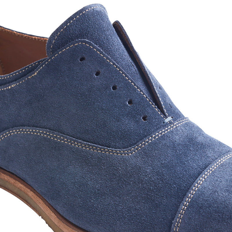 Mattias Suede Laceless Oxford Shoe - Blue