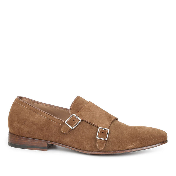 Mino Suede Monk-Strap Shoe - Cognac Suede - FINAL SALE